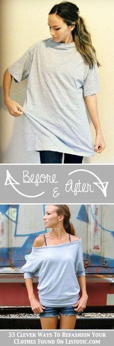 Camiseta de xl a camiseta ohhhh!!! Diy Clothing, Sewing Clothes, Sewing Men, Sewing Shorts, Umgestaltete Shirts, Band Shirts, Metal Shirts, Diy Mode, Diy Vetement