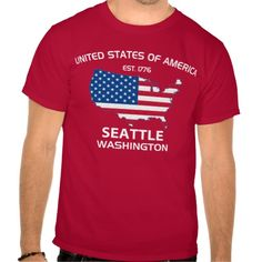 Show some USA pride with our patriotic, fun and stylish UNITED STATES OF AMERICA EST. 1776 SEATTLE WASHINGTON TEE.     Great for the 4th of July, your city celebration or anytime of the year so don't miss out grab yours today. www.citystyletees.com
