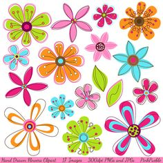 Hand Drawn Flowers Clipart Clip Art Pink Retro by PinkPueblo, $6.00