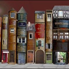 Book Art Is Awesome: Around The Home Fairy books (doll house doors and windows in vintage books) library Old Books, Vintage Books, Vintage Library, Altered Books, Altered Art, Altered Tins, Book Spine, Book Sculpture, Paper Sculptures