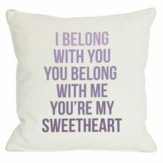 "Light gray pillow with a purple ombre typographic motif.  Product: PillowConstruction Material: Polyester cover and premium polyester down alternative fillColor: Light gray and purpleFeatures:  Zipper closureMade in the USAInsert included Dimensions: 18"" x 18""Cleaning and Care: Cover is machine washable"