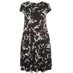 **Billie & Blossom Curve Black Dragonfly Dress ($57) ❤ liked on Polyvore featuring dresses, black, kohl dresses, black rayon dress, rayon dress, black day dress and viscose dress