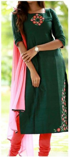 Different types of stylish kurti neck designs - ArtsyCraftsyDad Salwar Neck Designs, Kurta Designs Women, Dress Neck Designs, Blouse Designs, Chudidhar Neck Designs, Kurti Embroidery Design, Hand Embroidery Dress, Embroidery Neck Designs, Creative Embroidery