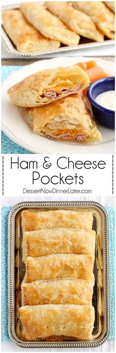 5 ingredient Ham and Cheese Pockets are easy to make for a great tasting hot lunch or dinner! #recipe