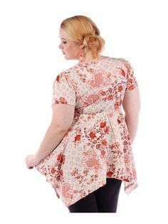 now $17 trendy gorgeous floral tunic blouse 1X plus size NEW hi lo Yummy Plus  #yummyplus #BlouseCHEST1X502X523X54 #EveningOccasion