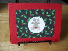 Red Nosed Reindeer  Handmade Greeting Card  by janzcardsandgifts