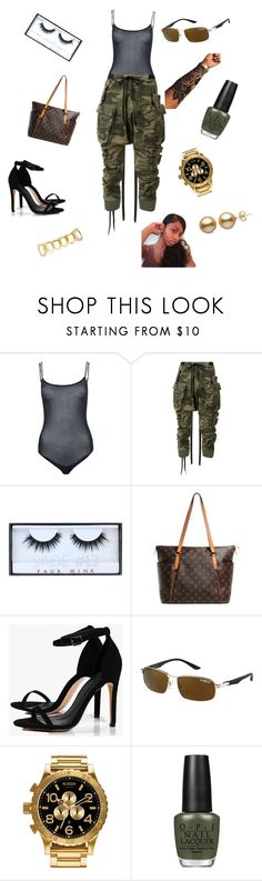 """""""thuggery"""" by siyaaaaa ❤ liked on Polyvore featuring Wolford, Unravel, Huda Beauty, Louis Vuitton, Boohoo, Nixon and OPI"""