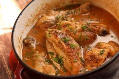 Cider-Braised Chicken - Enjoy this delicious braised chicken with a glass of the same cider used to cook it.  By Bryan Pickard