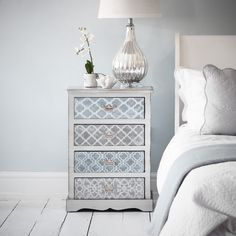 China Club Bedside Chest - Silver and Brushed Blue