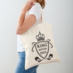 King Never Dies ! - Get yourself a funny custom desing from RIVEofficial Redbubble shop : )) .... tags: #king  #kingneverdies  #royalty #power #coatofarms # funny #humour #giftideas #crown #powerful #kingdom #findyourthing #shirtsonline #trends #riveofficial #favouriteshirts #art #style #design #nature #shopping #insidecollection #redbubble #digitalart #design #fashion #phonecases #access #customproducts #onlineshopping #accessories #shoponline #onlinestore #shoppingonline Cotton Tote Bags, Reusable Tote Bags, Funny Humour, Coat Of Arms, Never, Custom Design, Royalty, Crown, King