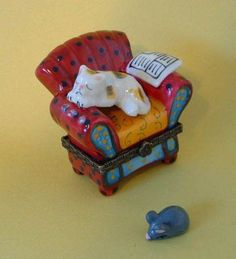 Sleeping Calico Cat on Red Chair Porcelain Hinged Trinket Box