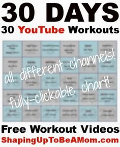 30 Days, 30 YouTube Workouts #fitness #workouts #YouTube #free goo.gl/fVywA7