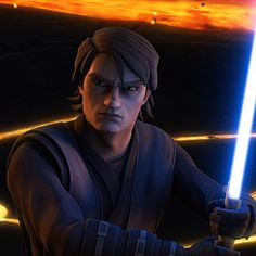 Anakin ready to defend himself from the Son.