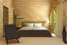 3D rendering : illustration of modern house interior.bed room part of house.Spacious bedroom in wooden style,modern furniture,big bed and decorative,green natural out side