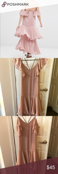 ASOS chiffon dress Rose colored, chiffon, ruffle dress. ASOS. Size XS. Worn once. In great condition. Perfect for weddings or any special occasion. Loose, comfortable fit. Simple & elegant. ASOS Dresses Wedding