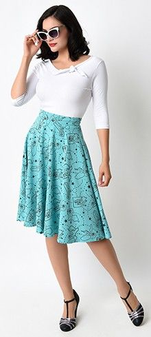Retro Aqua Pin-up State High Waisted Thrills Circle Skirt