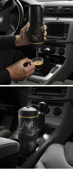 Portable Espresso Maker - plugs into your vehicle's cigarette lighter, add water along with your favourite coffee pod. Makes great coffee on the go! I don't even drink coffee but this is amazing! Different Coffee Drinks, Different Coffees, Best Espresso, Espresso Maker, Espresso Coffee, Deco Cafe, Portable Coffee Maker, Innovation, Coffee Pods