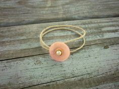 Upcycled Pink Vintage Button Minimalist Hemp by ThreadedChains, $6.00