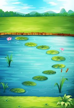 Illustration of Illustration of a frog and a lake in a beautiful nature vector art, clipart and stock vectors. Scrapbook Background, Background Clipart, Cartoon Background, Scenery Pictures, Background Pictures, Nature Pictures, Art Drawings For Kids, Drawing For Kids, Easy Drawings