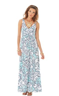 Sloane V-Neck Maxi Dress in spa blue shape up or ship out