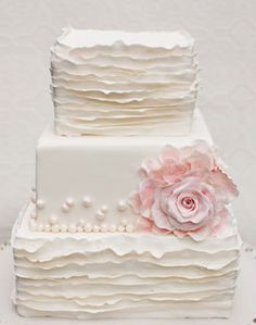 ruffled square wedding cake ~ This is so simple and feminine.