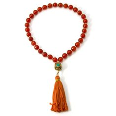 33 Carnelian Muslim Prayer Beads with Gold Filled Beads and Square Nep – Silver Inches
