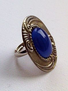 Blue onyx and sterling silver finished ring