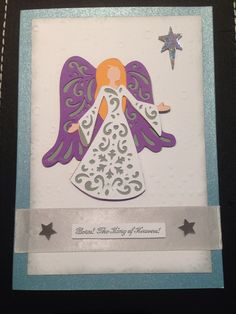 Handmade angel Christmas card.  Made using 'A Quilted Christmas' Cricut cartridge.