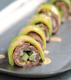 Using thin steaks instead of rice beefs up the protein in this sushi recipe