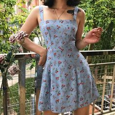 Cute Casual Outfits, Casual Summer Dresses, Retro Outfits, Short Dresses, Girl Outfits, Vintage Outfits, Summer Floral Dress, Blue Outfits, Vintage Summer Dresses
