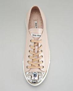 Miu Miu Jeweled Cap-Toe Sneaker, Cipria - Neiman Marcus
