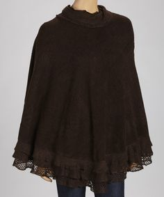 Take a look at this Chocolate Brown Tiered Ruffle Poncho by SR Fashions on #zulily today!