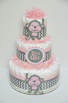 Pink And Gray Monkey Diaper cake  Monkey Baby Shower Centerpiece by LanasDiaperCakeShop on Etsy https://www.etsy.com/listing/209288496/pink-and-gray-monkey-diaper-cake-monkey