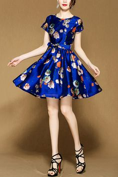 summer new European and American fashion waist bow was thin short-sleeved printed dress