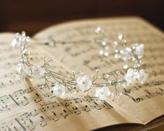 Floral headband. Bridal hair accessories, Woodland wedding, Wedding pearl crown, Bridal silver wreath, crystals, Bride hair piece.
