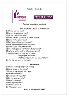 Trinity – Grade 2.                        Possible examiner's questions                    Wh-questions – there is / there...