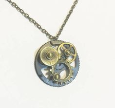 Steampunk Pendant Antique Bronze Chain Necklace  - Pendant Necklace -vintage style necklace
