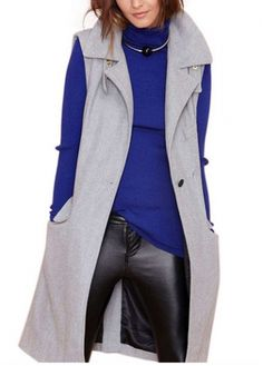 Trendy Single Breasted Turndown Collar Grey Coat for Woman
