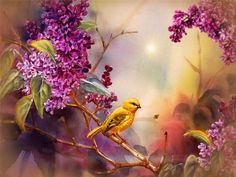 Bird Resting on a Branch animals nature flowers tree animated bird gif wildlife