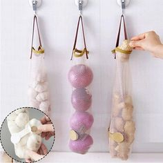 LVV HOME Hangable fruit vegetable storage net bag/Creative portable kitchen practical hollow breathable garlic onion hanging bag Produce Storage, Produce Bags, Food Storage, Storage For Bags, Fruit Storage, Onion Storage, Garlic Storage, Potato Storage, Kitchen Vegetable Storage