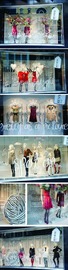 Glass storefront Using flat images against the three dimensional mannequins creates so much attractive contrast!