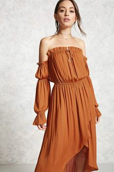 Forever 21 Contemporary - A satin woven dress featuring an off-the-shoulder ruffle neckline with a self-tie split front detail, long peasant sleeves, an elasticized waist, and a high-low tulip hem.