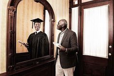10 Beautiful Portraits Of Elderly People Looking In A Mirror At Their Younger Self.