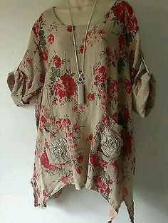 Lagenlook- Hessian Linen Beige- Floral Print Tunic top - Plus size- in Clothes, Shoes & Accessories, Women's Clothing, Tops & Shirts Bohemian Mode, Boho Chic, Boho Fashion, Fashion Outfits, Womens Fashion, Looks Plus Size, Linen Dresses, Mode Inspiration, Mode Style