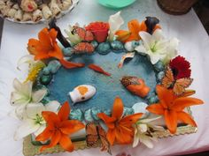 Koi fish and rocks made out of fondant. Pond Cake, 50th Wedding Anniversary, Buttercream Cake, Cake Decorating, Decorating Ideas, Real Flowers, Cakes And More, Tiered Cakes, Koi