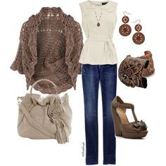 I want a sweater like this, love the copper accessories.