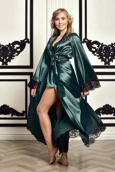 Bride Dressing Gown, Satin Dressing Gown, Lace Bridal Robe, Bridal Robes, Bridal Gown, Satin Dresses, Gowns, Green Satin Dress, Silk Robe Long