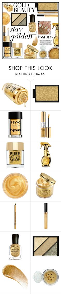 """""""Gold Beauty"""" by audreybrookezaring ❤ liked on Polyvore featuring beauty, Buxom, NYX, Moschino, Oribe, Peter Thomas Roth, Chanel, Deborah Lippmann, Elizabeth Arden and BBrowBar"""