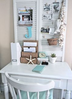 25 Repurposed Shutter Decorating Ideas - The Cottage Market- use little wood desk, buy smaller chair