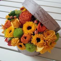 Autumn in a box Fruit Arrangements, Table Decorations, Autumn Flowers, Furniture, Home Decor, Box, Fall Flowers, Decoration Home, Snare Drum